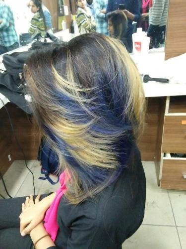 Blond with blue color